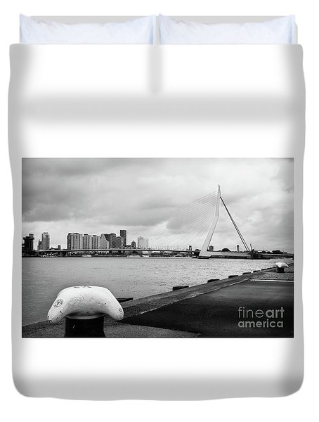 Duvet Cover featuring the photograph The Erasmus Bridge In Rotterdam Bw by RicardMN Photography