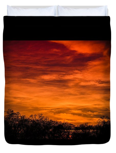 The Evening Sky Of Fire Duvet Cover by David Collins
