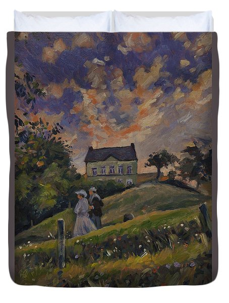 The Evening Stroll Around The Hoeve Zonneberg Duvet Cover by Nop Briex
