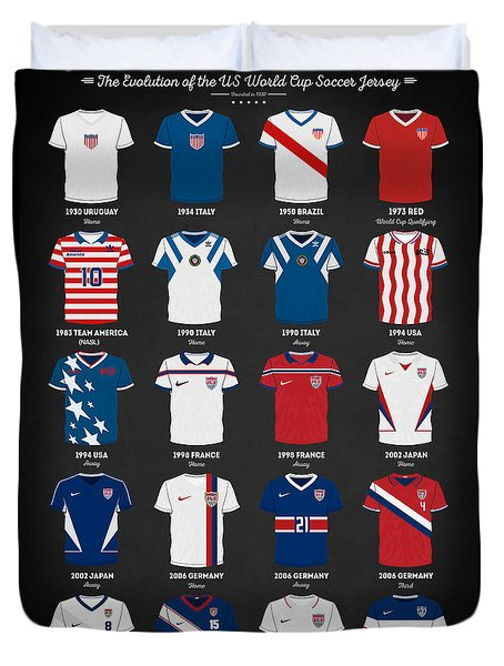 The Evolution Of The Us World Cup Soccer Jersey Duvet Cover by Taylan Apukovska