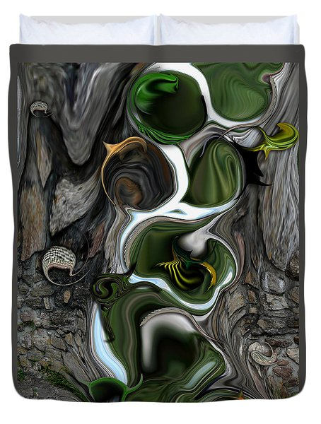 Duvet Cover featuring the digital art The Evolving Dimensionality by Carmen Fine Art