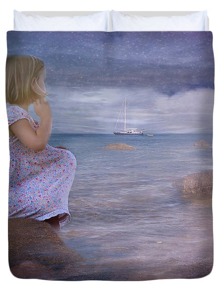 The Explorers Underneath The Night Sky At The Seashore Duvet Cover