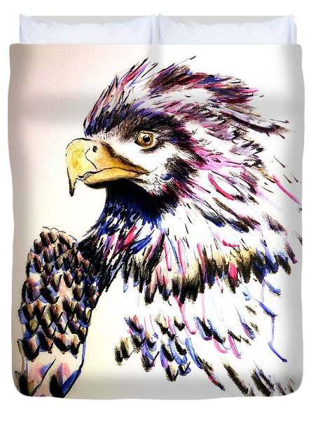 Watercolor Painting Of The Eye Of Freedom By Ayasha Loya Duvet Cover by Ayasha Loya
