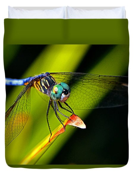 Duvet Cover featuring the photograph The Face Of A Dragonfly 003 by George Bostian