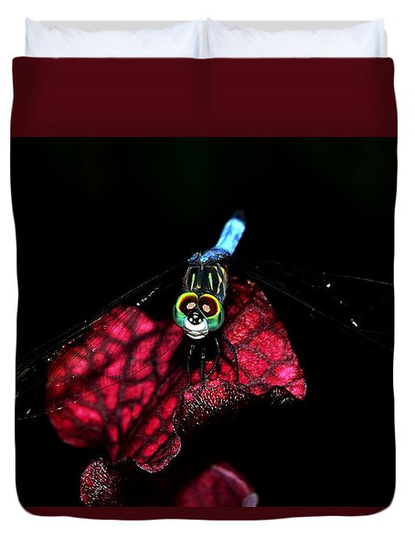 Duvet Cover featuring the photograph The Face Of A Dragonfly 004 by George Bostian
