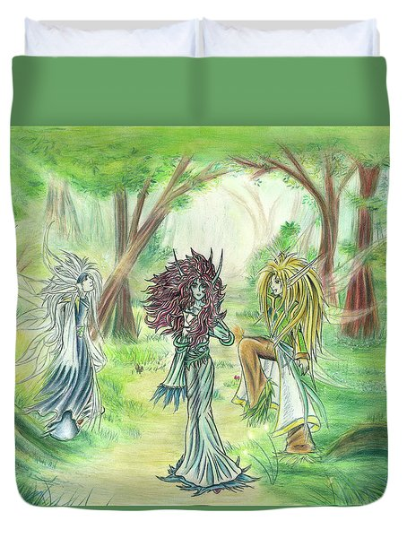 Duvet Cover featuring the painting The Fae - Sylvan Creatures Of The Forest by Shawn Dall