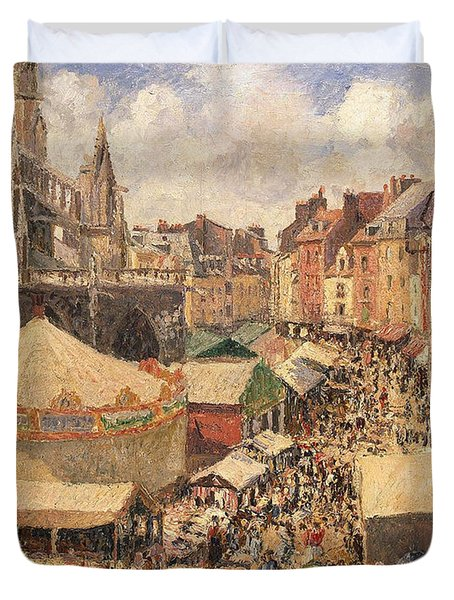 The Fair In Dieppe Duvet Cover by Camille Pissarro