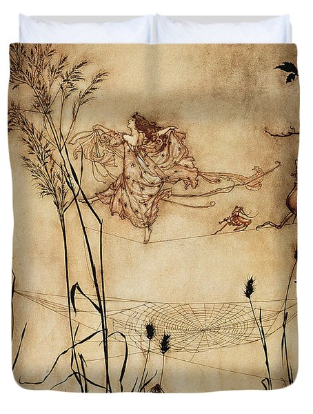 The Fairy's Tightrope From Peter Pan In Kensington Gardens Duvet Cover by Arthur Rackham