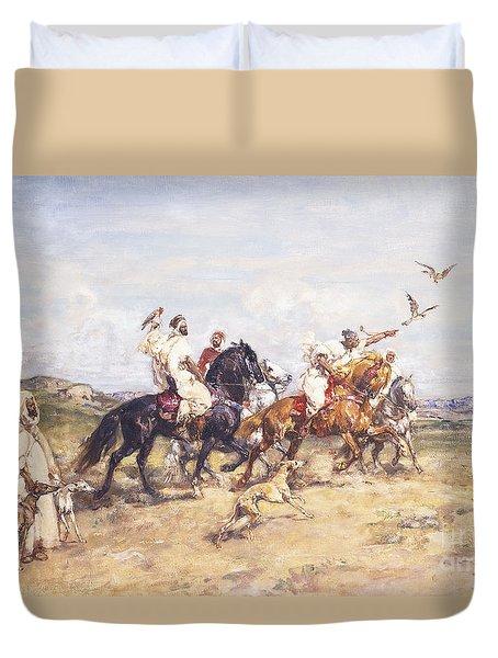 The Falcon Chase Duvet Cover by Henri Emilien Rousseau