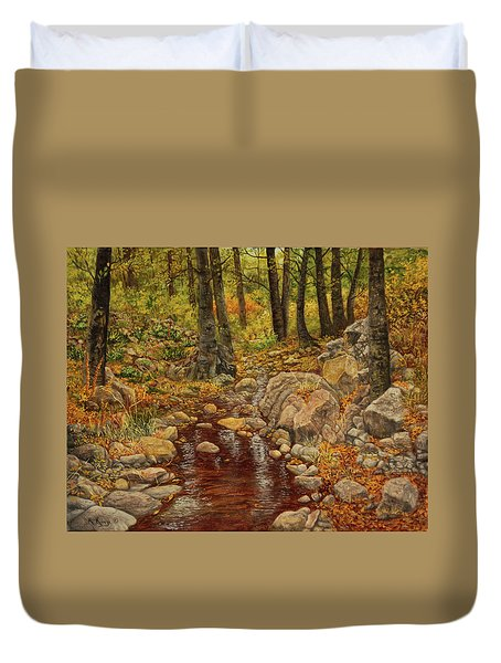 Duvet Cover featuring the painting The Fall Stream by Roena King