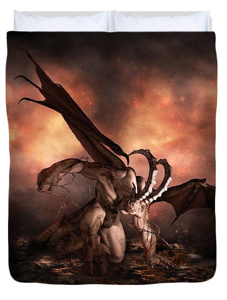 Duvet Cover featuring the digital art The Fallen by Shanina Conway