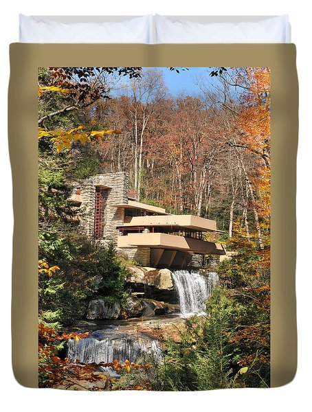 The Fallingwater Duvet Cover by Edwin Verin