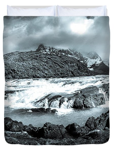 The Falls In Black And White Duvet Cover by Andrew Matwijec