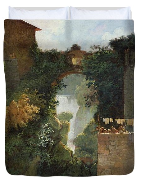 The Falls Of Tivoli Duvet Cover by Jean Honore Fragonard