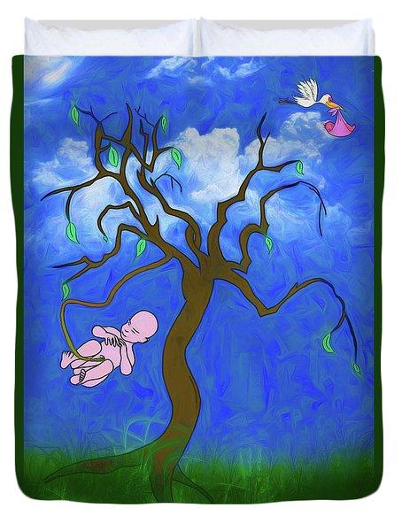 Duvet Cover featuring the digital art The Family Tree by John Haldane