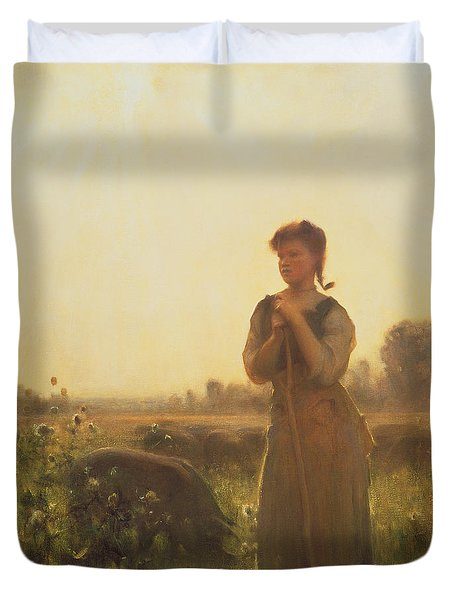 The Farm Girl Duvet Cover by Arthur Hacker