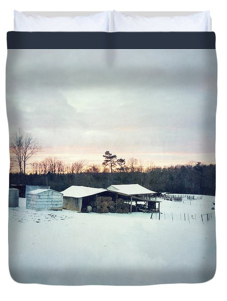 The Farm In Snow At Sunset Duvet Cover