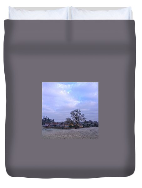 The Farm In Winter Duvet Cover