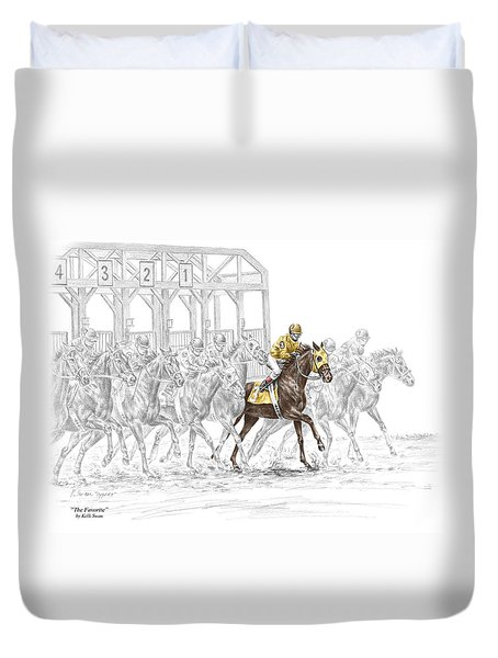 The Favorite - Thoroughbred Race Print Color Tinted Duvet Cover by Kelli Swan