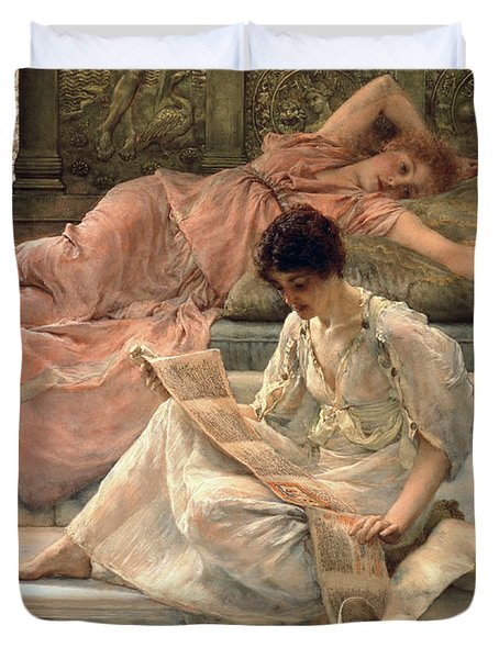 The Favourite Poet Duvet Cover by Sir Lawrence Alma-Tadema