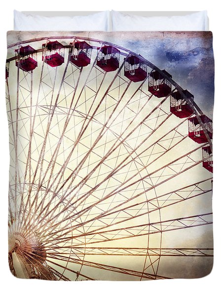 The Ferris Wheel At Navy Pier Duvet Cover by Mary Machare