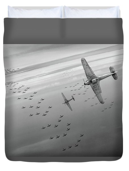 Duvet Cover featuring the photograph The Few Bw Version by Gary Eason