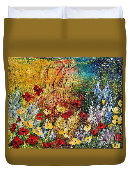 Duvet Cover featuring the painting The Field by Teresa Wegrzyn