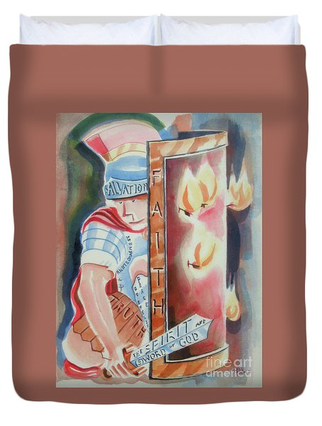 Duvet Cover featuring the painting The Fiery Darts Of The Evil One 2 by Kip DeVore