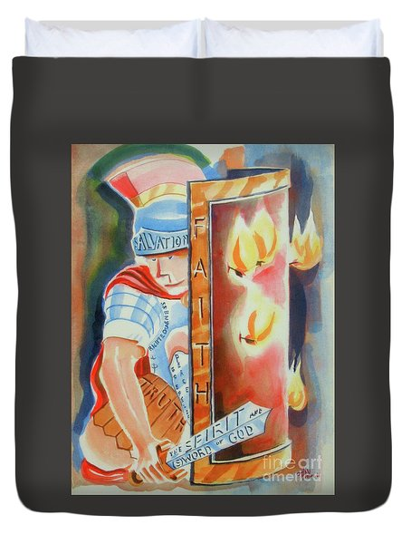 Duvet Cover featuring the painting The Fiery Darts Of The Evil One 3 by Kip DeVore