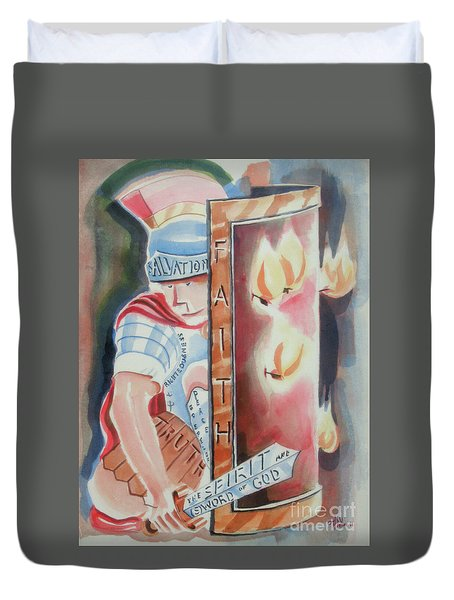 Duvet Cover featuring the painting The Fiery Darts Of The Evil One by Kip DeVore