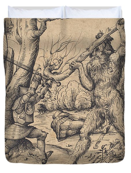The Fight In The Forest Duvet Cover