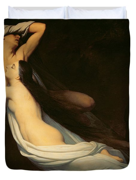 The Figures Of Francesca Da Rimini And Paolo Da Verrucchio Appear To Dante And Virgil Duvet Cover by Ary Scheffer