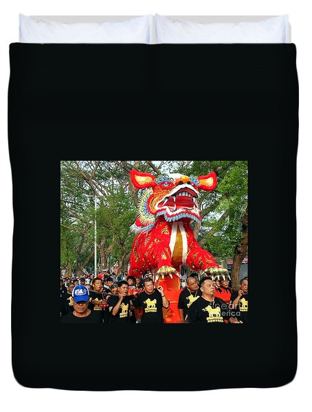 Duvet Cover featuring the photograph The Fire Lion Procession In Southern Taiwan by Yali Shi