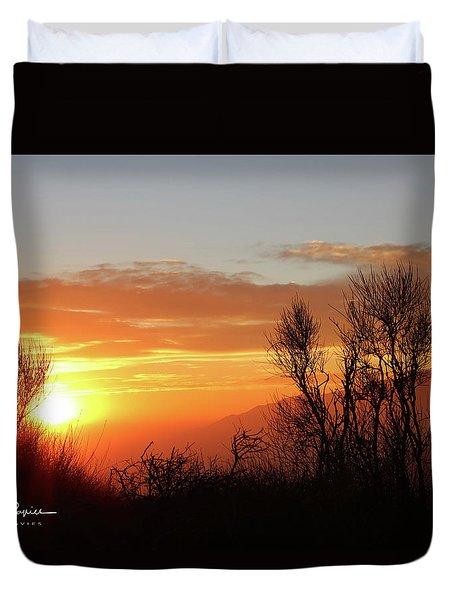 The Fire Of Sunset Duvet Cover