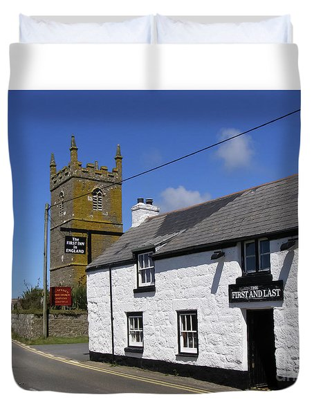 Duvet Cover featuring the photograph The First And Last Inn In England by Terri Waters