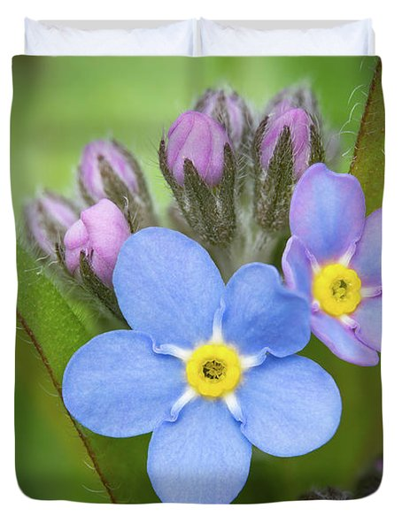 Duvet Cover featuring the photograph The First Blossom Of The Forget Me Not by William Lee