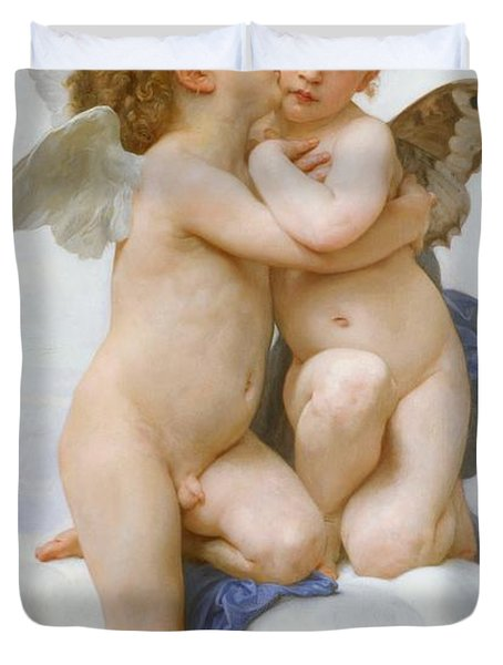 The First Kiss  Duvet Cover by William Adolphe Bouguereau