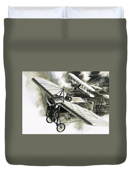 The First Reconnaissance Flight By The Rfc Duvet Cover by Wilf Hardy