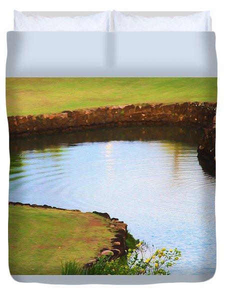 The Fish Pond Duvet Cover by Bonnie Follett