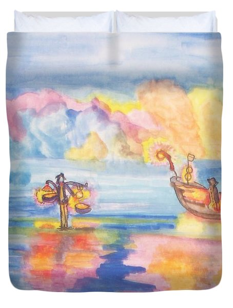 The Fishermen Come Home Duvet Cover by Connie Valasco