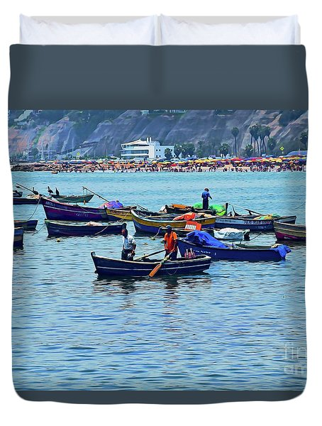 Duvet Cover featuring the photograph The Fishermen - Miraflores, Peru by Mary Machare