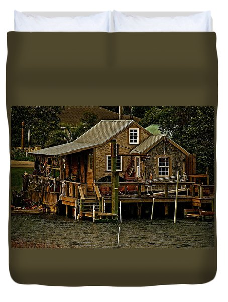 The Fishing Shack Duvet Cover by John Harding