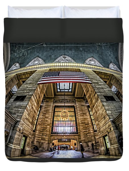 The Flag At Grand Central Station Duvet Cover by Rafael Quirindongo