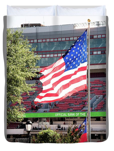 Duvet Cover featuring the photograph The Flag Flying High Over Sanford Stadium by Parker Cunningham