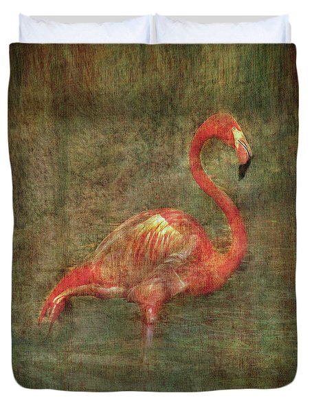 Duvet Cover featuring the photograph The Flamingo by Hanny Heim