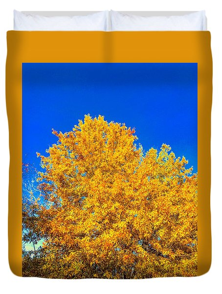 The Flare Of Fall On A Clear Day Duvet Cover