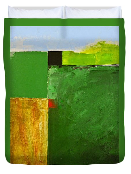 Duvet Cover featuring the painting The Flat Lands by Cliff Spohn