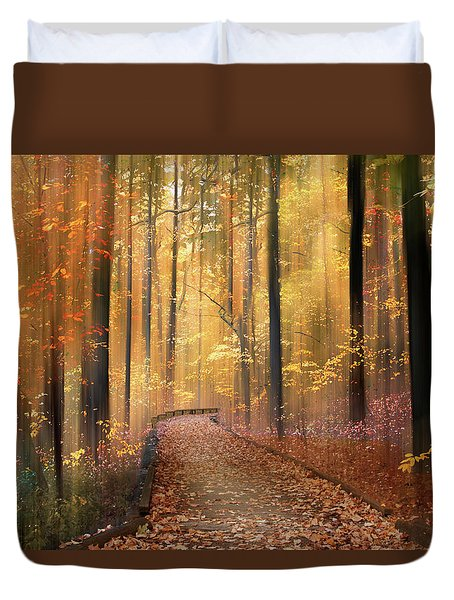 Duvet Cover featuring the photograph The Flickering Forest by Jessica Jenney