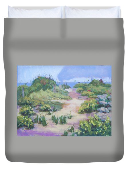 The Flip-flop Path To Paradise Duvet Cover by Carol Strickland
