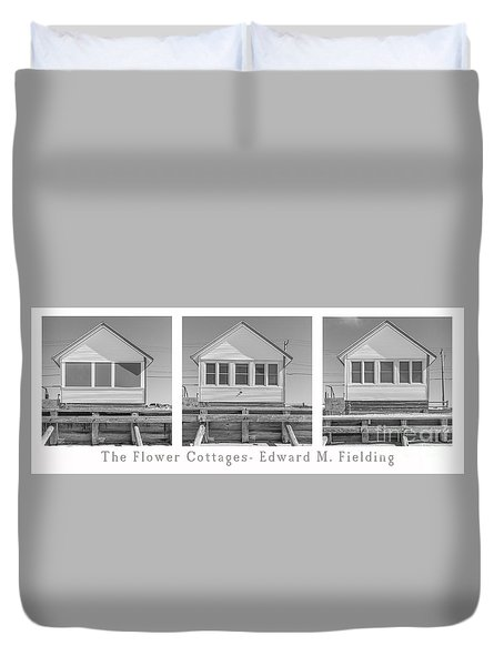 The Flower Cottages Trio Poster Duvet Cover
